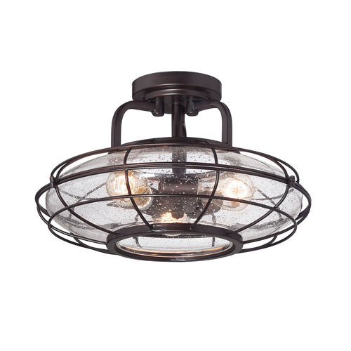 River Station English Bronze 16-Inch Three-Light Semi Flush Mount