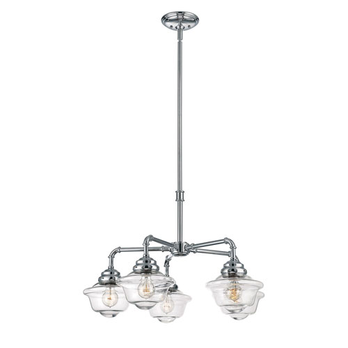 251 First Evelyn Chrome 30-Inch Five-Light Chandelier