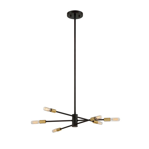 251 First Uptown Bronze with Brass Accents Six-Light Chandelier