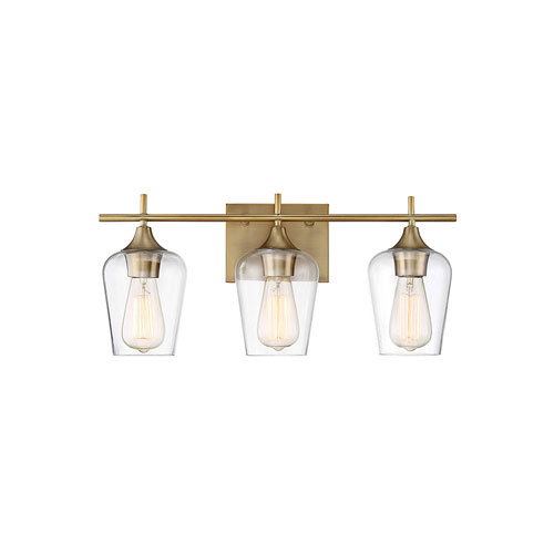 Nicollet Warm Brass 21-Inch Three-Light Bath Vanity