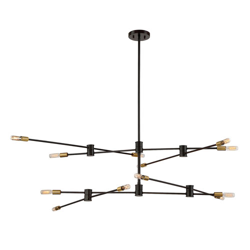 Uptown Bronze with Brass Accents 12-Light Chandelier