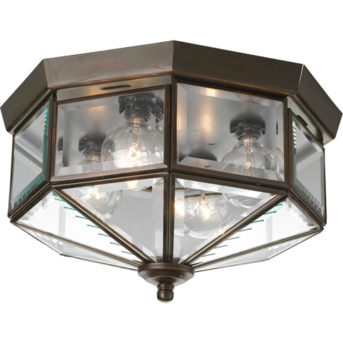 Webster Beveled Glass Antique Bronze Four-Light Flush Mount with Clear Beveled Glass Panels