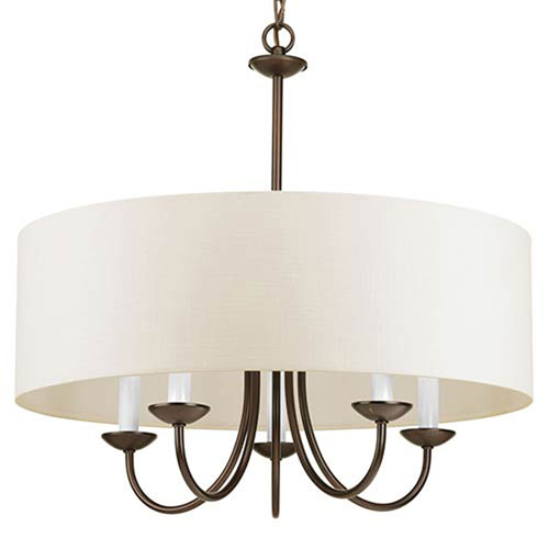 Evelyn Antique Bronze Five-Light Chandelier with Off White Linen Fabric Shade