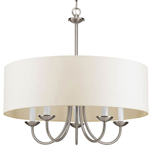 Evelyn Brushed Nickel Five-Light Chandelier with Off White Linen Fabric Shade