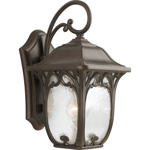 251 First Wellington Espresso 15-Inch One-Light Outdoor Wall Lantern with Clear Seeded Glass Panels