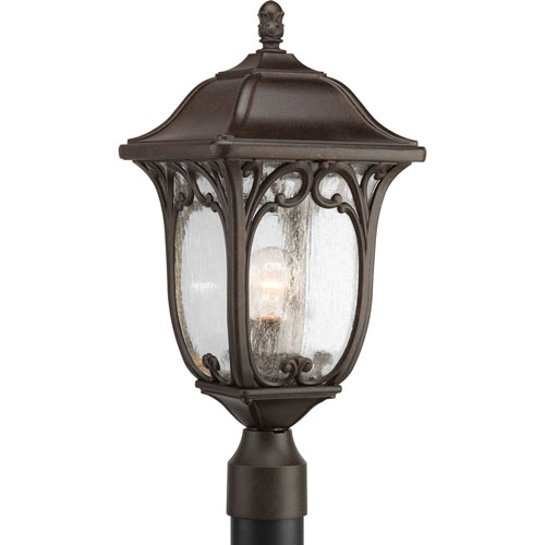 251 First Wellington Espresso One-Light Outdoor Post Lantern with Clear Seeded Glass Panels