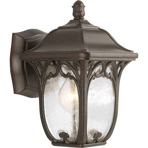 251 First Wellington Espresso One-Light Outdoor Wall Sconce with Clear Seeded Glass Panels