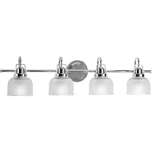 251 First Afton Polished Chrome Four-Light Bath Fixture with Clear Double Prismatic Glass Shades