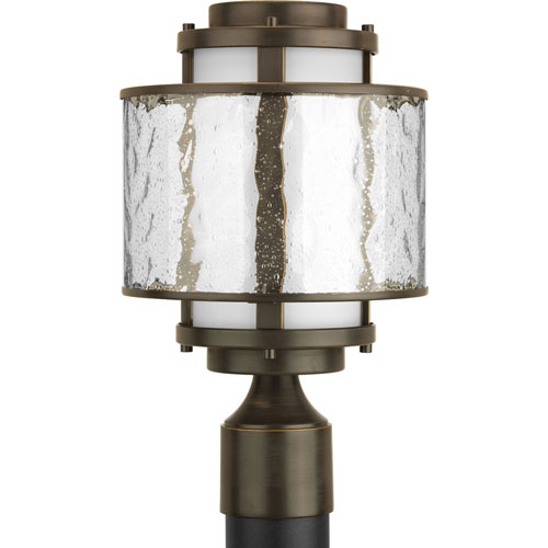 251 First Nicollet Court Outdoor Antique Bronze One-Light Outdoor Post Lantern with Distressed Clear and Etched Opal Glass
