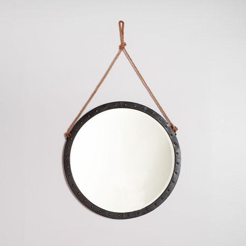 Camden Distressed Matte Black Nautical Mirror