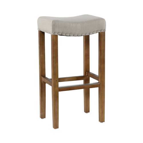 Union Street Luna French Beige Backless Bar Stool with Natural Brown Legs