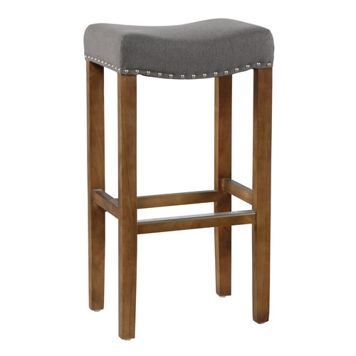 Union Street Luna Storm Grey Backless Bar Stool with Natural Brown Legs