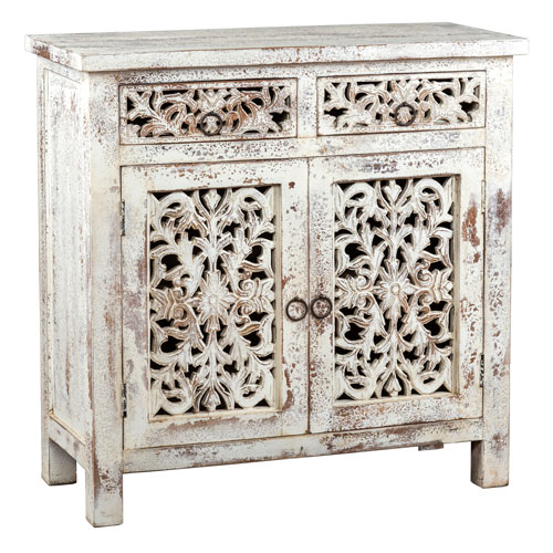 Evelyn Antique White Two Door Buffet