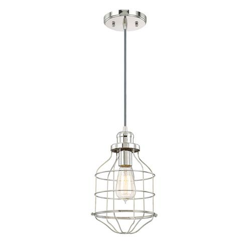 River Station Polished Nickel One-Light Mini Pendant