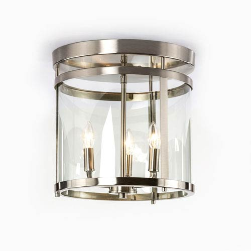 Selby Brushed Nickel Three-Light Semi Flush Mount