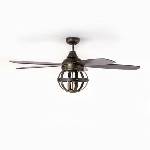 River Station Natural Iron Three-Light Fan