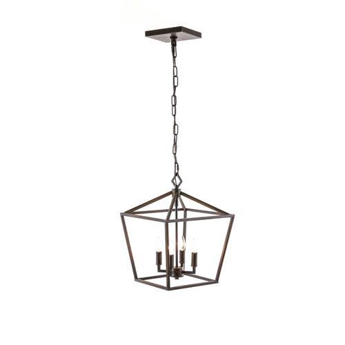 251 First Kenwood Rubbed Bronze Four-Light Lantern Pendant