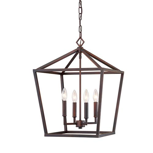 Kenwood Rubbed Bronze Four Light Lantern Pendant