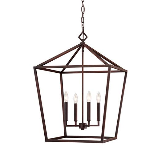 251 First Kenwood Rubbed Bronze Four-Light Lantern Pendant
