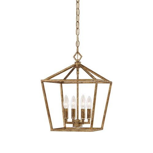 Kenwood Vintage Gold Four-Light Lantern Pendant