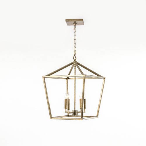 251 First Kenwood Vintage Gold Four-Light Lantern Pendant