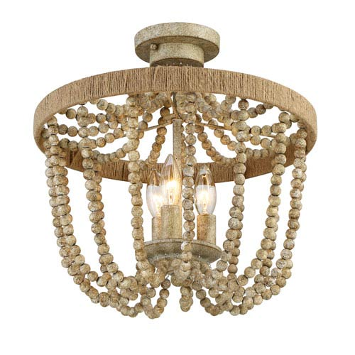 Selby Natural Wood Three-Light Semi-Flush