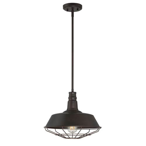 River Station Rubbed Bronze One-Light Pendant