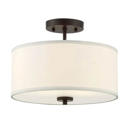 251 First Nicollet Rubbed Bronze Two-Light Drum Semi-Flush Mount