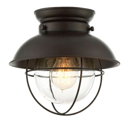251 First River Station Rubbed Bronze One Light Lantern Flush Mount