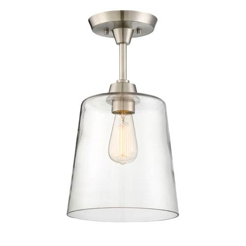 Nicollet Brushed Nickel One-Light Semi-Flush Mount with Clear Glass Shade