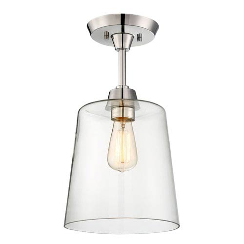 Nicollet Polished Nickel One-Light Semi-Flush Mount with Clear Glass Shade