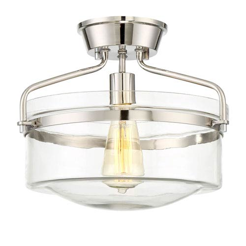 Afton Polished Nickel One-Light Drum Semi-Flush Mount