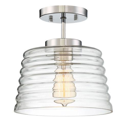Grace Chrome One-Light Semi-Flush Mount with Ribbed Glass Shade