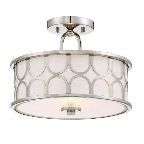 251 First Selby Polished Nickel Two-Light Drum Semi-Flush Mount