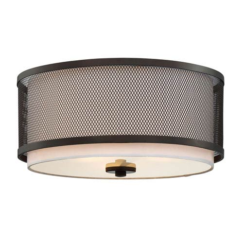 Nicollet Rubbed Bronze Three-Light Drum Flush Mount