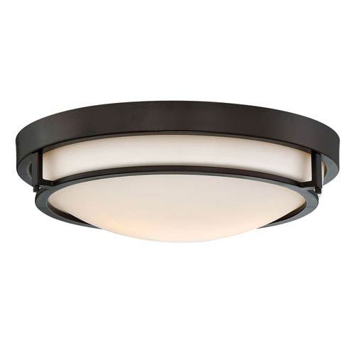 Nicollet Rubbed Bronze Two-Light Flush Mount