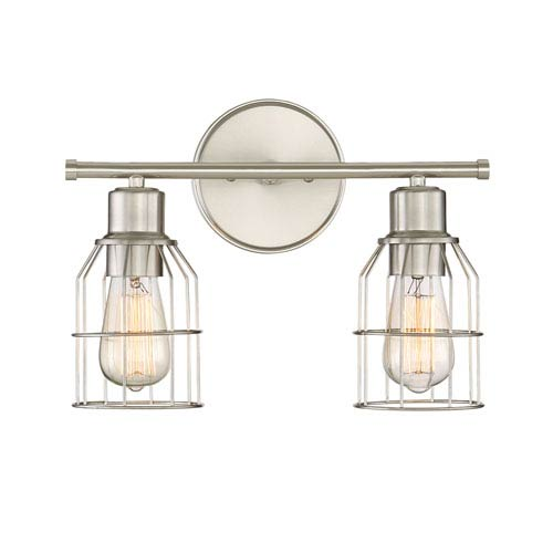 Afton Brushed Nickel Caged Two-Light Industrial Vanity