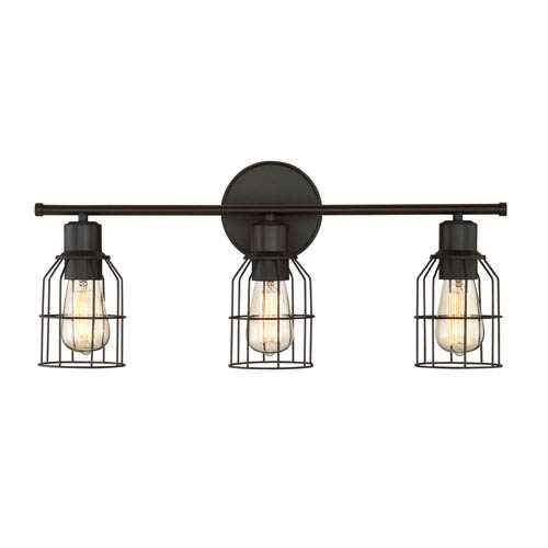 251 First Afton Rubbed Bronze Caged Three-Light Industrial Vanity