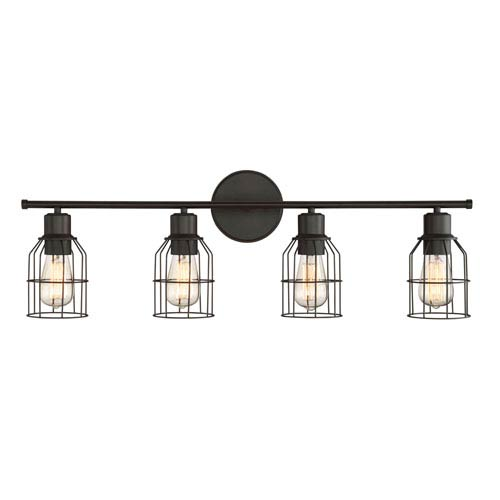 Afton Rubbed Bronze Caged Four-Light Industrial Vanity