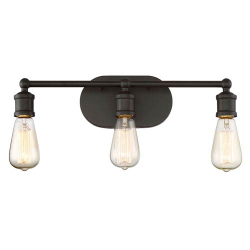 Afton Rubbed Bronze Three-Light Industrial Vanity