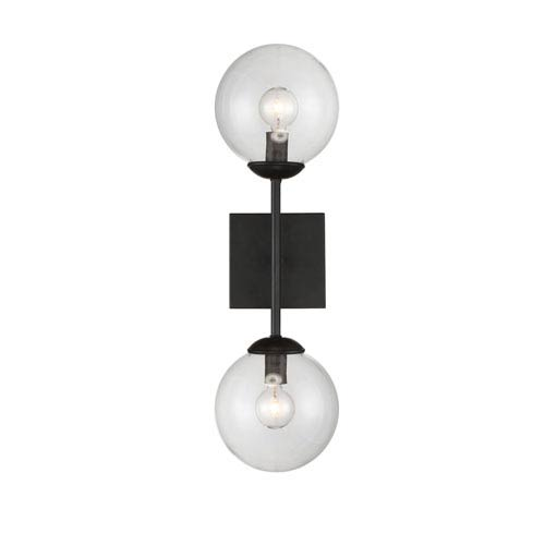 Uptown Black Globe Two-Light Wall Sconce