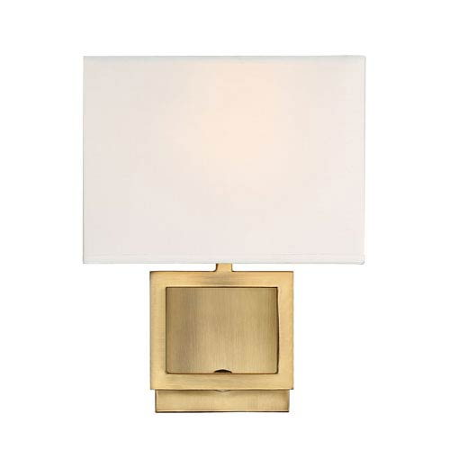 251 First Uptown Natural Brass One-Light Wall Sconce with Square White Fabric Shade