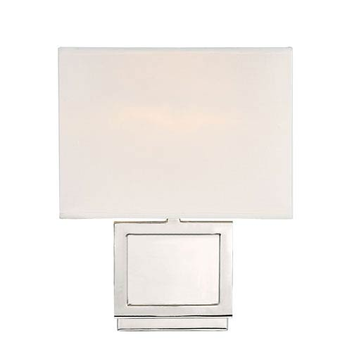 Uptown Polished Nickel One-Light Wall Sconce with Square White Fabric Shade
