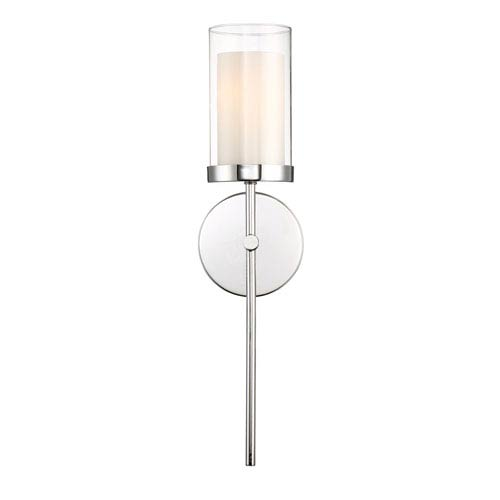 Nicollet Chrome One-Light Wall Sconce with Clear and Etched Opal Glass Shade