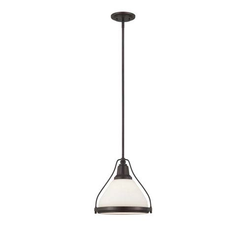 Hayden Bronze One-Light Pendant with White Glass Shade
