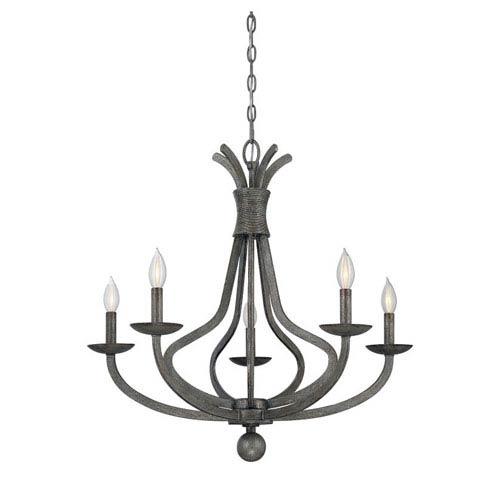 Quinn Antiqued Silvered Bronze Five-Light Chandelier