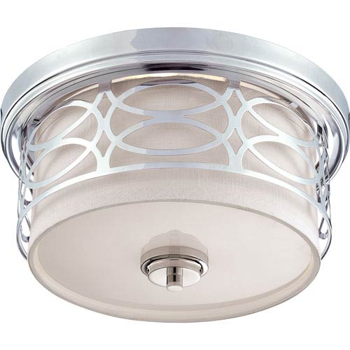Isles Polished Nickel Two-Light Drum Flush Mount with Gray Fabric Shade