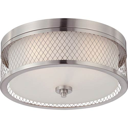 251 First Nicollet Brushed Nickel Three-Light Drum Flush Mount with Frosted Glass Shade