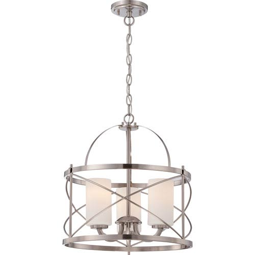 Isles Brushed Nickel Three-Light Pendant with Etched Opal Glass Shade