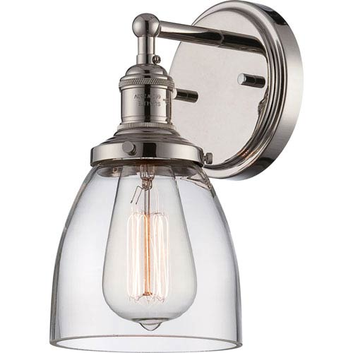 Grace Polished Nickel One-Light Bath Sconce with Clear Glass Shade